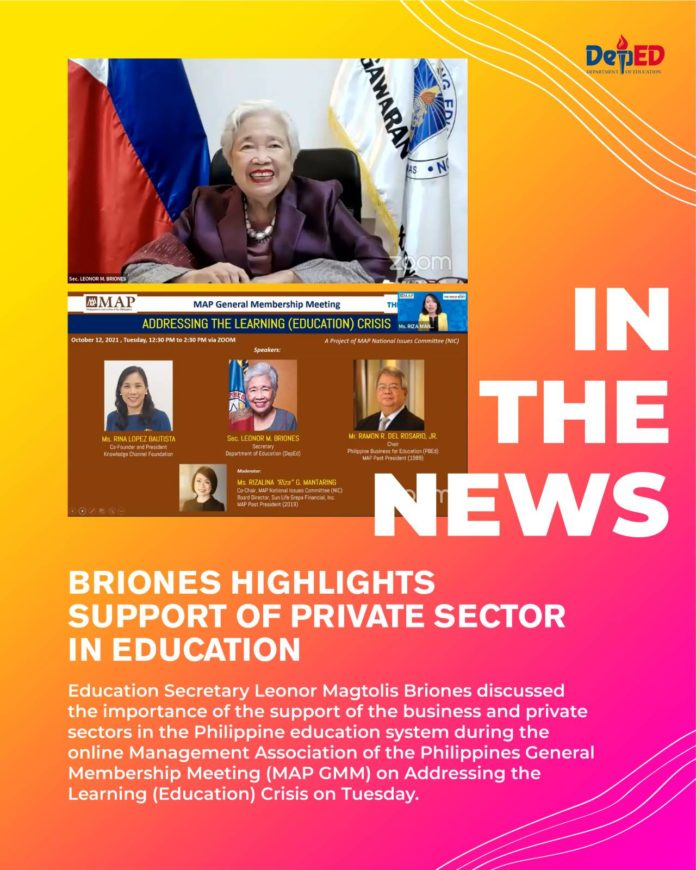 Briones highlights support of private sector in education